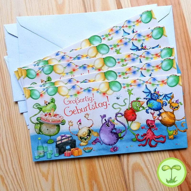 Sprachmonster Einladungskarte Grußkarte Geburtstag 5er-Set Vorderseite