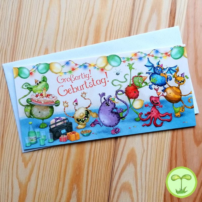 Sprachmonster Grußkarte Einladungskarte Geburtstag Frontseite
