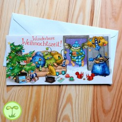 Sprachmonster Grußkarte Einladungskarte Weihnachten front