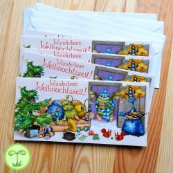 Sprachmonster Einladungskarte Grußkarte Weihnachten 5er-Set Vorderseite