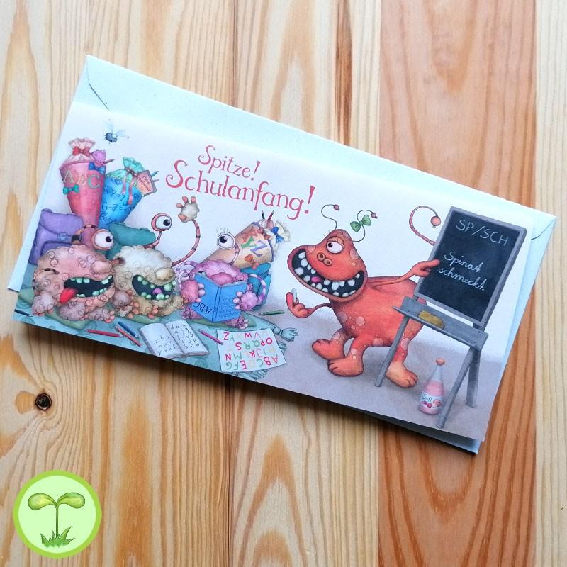 Sprachmonster Grußkarte Einladungskarte Schulanfang front