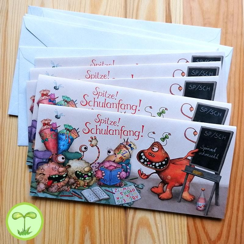 Sprachmonster Einladungskarte Grußkarte Schulanfang 5er-Set Vorderseite