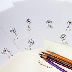 Sprachmonster Grußkarte Einladungskarte Schulanfang Zeichnungen innen