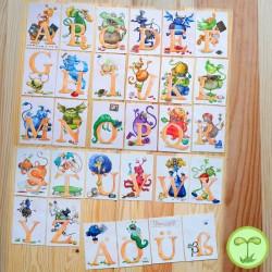 Sprachmonster Buchstabenkarten Alphabet komplett Recyclingpapier