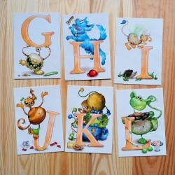 Sprachmonster Buchstabenkarten GHI JKL