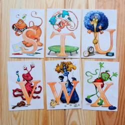 Sprachmonster Buchstabenkarten STU VWX