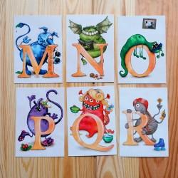 Sprachmonster Buchstabenkarten MON PQR