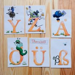 Sprachmonster Buchstabenkarten YZ ÄÖÜß