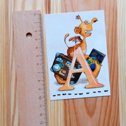 Sprachmonster Buchstabenkarte A Lineal hoch