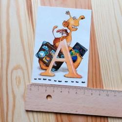 Sprachmonster Buchstabenkarte A Lineal quer