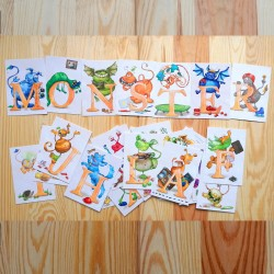 Sprachmonster Buchstabenkarten Schriftzug Monster